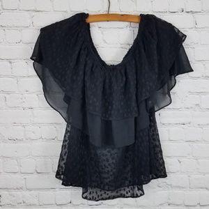 Zara Basic Tiered Black Star Flutter Sleeve Top